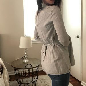 Zara Gray Cardigan with Tie Detail in Back